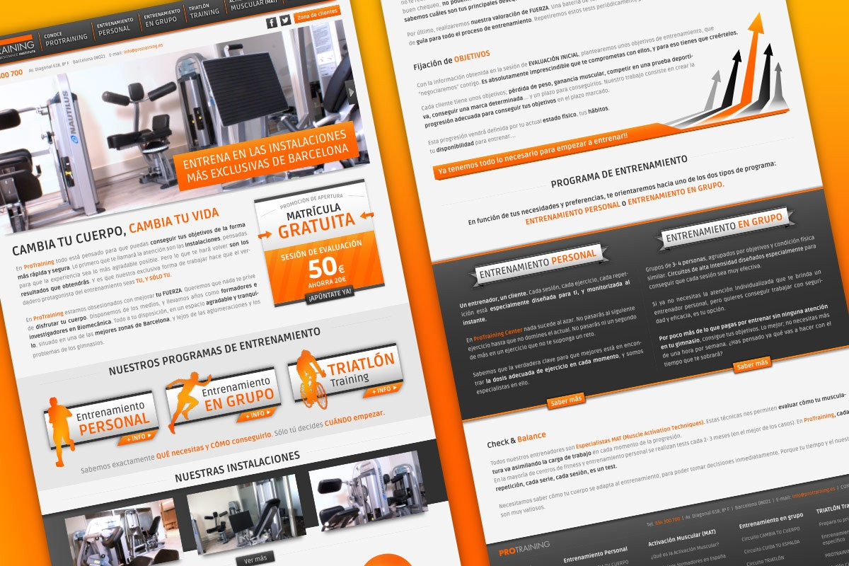 Diseño web Protraining Center. INKTERFACE